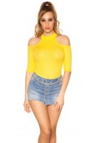 Sexy Cold Shoulder Shirt Yellow