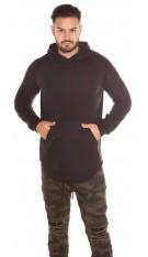Trendy lange heren sweater-trui met capuchon en zak zwart