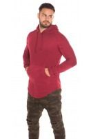 Trendy Men s Long Hoodie with pocket Bordeaux