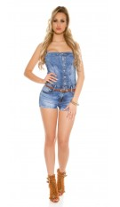 Sexy Jeans-Bandeau Jumpsuit with belt Jeansblue