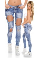 Sexy Skinny Jeans ExTRem Used with synthetic beads Jeansblue