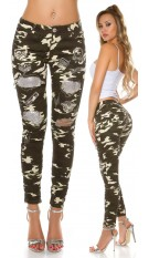 Sexy Camo Jeans Used look with sequins & rivets Army