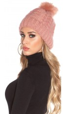 Trendy lined knitcap w. fake fur PomPom Rose