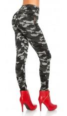 Sexy leggings in camouflage gevoerd grijs
