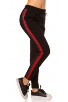 Trendy thermal joggers with contrast stripes Redgreen