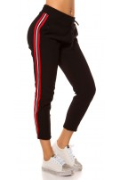 Trendy thermal joggers with contrast stripes Redwhite