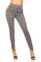 Sexy treggings checkered with contrast stripes Leo
