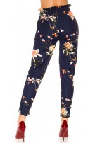 Trendy treggings in a floral print with a loop Navy