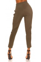 Trendy Jogging pants with leo contrast stripe Khaki