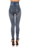 Sexy Highwaist Jeanslook Leggings w. Lacing Lightblue