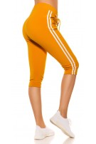Trendy Capri Joggers with contrast stripes Mustard