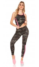 Trendy workout-sport outfit met top & leggings fuchsiaroze