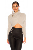 Sexy cozy cropped sweater-trui grijs
