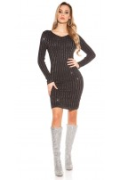 Sexy V-cut knit dress with glitter threads Black