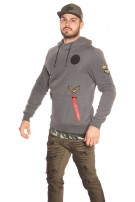 Trendy men s hoodie with patches Grey