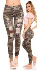 Sexy camouflage jeans gebruikte used look met patches leger-kleurig