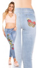 Sexy skinny jeans with embroidery Jeansblue