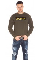 Trendy Mens Basic Jumper w. Print Khaki