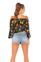 Sexy off shoulder blouse with flower print Navy