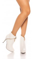 Sexy Stilett Ankle Boots White