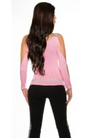 Sexy longsleeve with open sleeves and rhinestones Pink