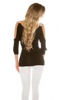 Sexy Long Sleeve, sleeve open with rhinestones Black