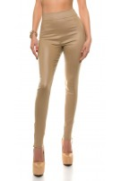 Sexy Koucla-highwaist leatherlook pants with zips Beige