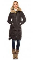 Trendy winter mantel met capuchon zwart