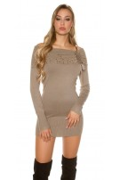 Sexy studded knitminidress Cappuccino