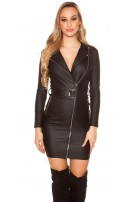 Sexy Leather Look Mini Dress With Belt Black
