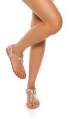 Trendy toe sandals with XL rhinestones Silver