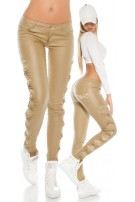 Leatherlook pants with lace Beige