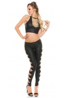 Leather-look trousers with side loops Black