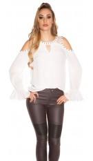 Sexy blote schouder-blouse wit