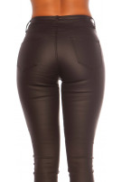 Sexy 5 pocket Leatherlook Pants Black