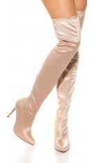 Sexy satijn look overknee laarzen beige