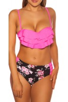 Sexy Pushup-Bikini w.flowerprint+Highwaist pants Neonfuchsia