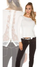 Sexy KouCla sweater with rhinestones, lace and zip White