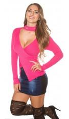 Sexy KouCla-pullover w. rhinestone standup collar Fuchsia