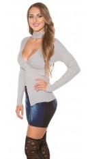 Sexy KouCla-pullover w. rhinestone standup collar Grey