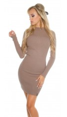 Sexy Basic-Ripp-mini dress with turtleneck Cappuccino