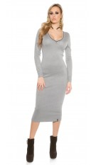 Maxi knit dress V-Cut Grey