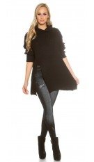 Oversize turtleneck knit jumper Black