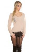 Gebreide Sweater Destroyed-Look Beige