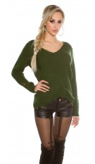 Knit sweater Destroyed Look Khaki