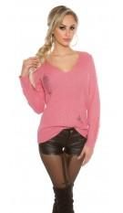 Gebreide sweater-trui destroyed-look rose