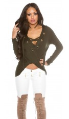 V-Cut High Low jumper Khaki