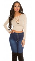 laced V-cut sweater Beige