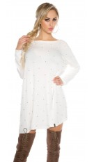 Oversize jumper with silver pearls White