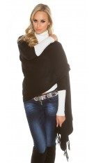 Trendy KouCla 2in1 fine knit cardigan/poncho Black